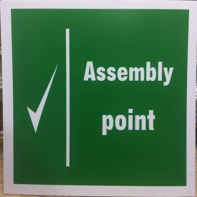 Assembly Point Corriboard Sign